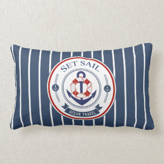 Set Sail Ocean Travel Nautical Lumbar Pillow