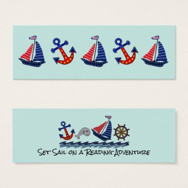 Beach Themed Set Sail Reading Adventure Bookmarks Mini Business Card