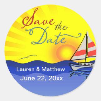 Set Sail Save the Date Classic Round Sticker