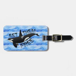 """Set them free"" orca Luggage Tags"
