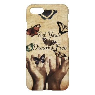 Set Your Dreams Free Inspirational Butterfly Custo iPhone 7 Case