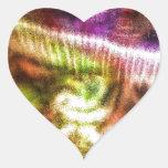 Seta abstracta rosada calcomanía de corazón
