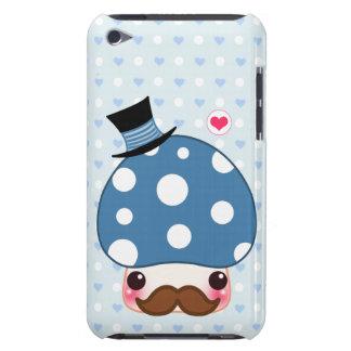 Seta azul de Kawaii con el bigote Barely There iPod Protectores