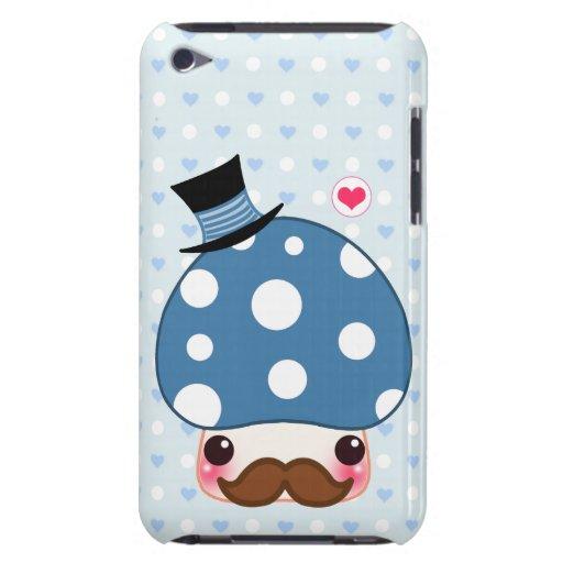 Seta azul de Kawaii con el bigote iPod Touch Case-Mate Cobertura
