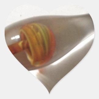 seta de cristal anaranjada soplada mano pendiente pegatina en forma de corazón