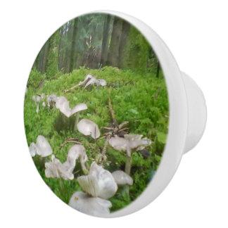 Seta del bosque pomo de cerámica