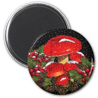 Seta del navidad Toadstools nieve acebo Iman De Frigorífico