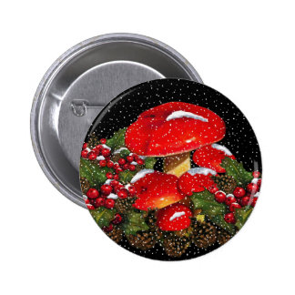 Seta del navidad, Toadstools, nieve, acebo Pin Redondo De 2 Pulgadas