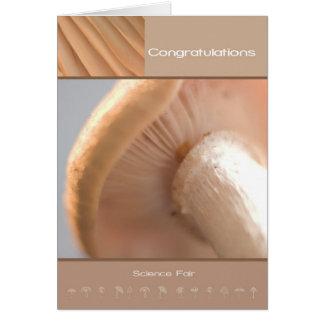 Seta - feria de ciencia de la enhorabuena tarjeta de felicitación