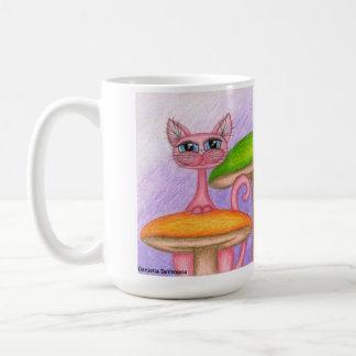 Seta mágica, taza de café de hadas del gatito de