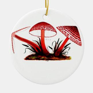 Seta roja del vintage adorno navideño redondo de cerámica