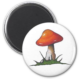 Seta roja: Toadstool: Arte a pulso del marcador Imán Redondo 5 Cm
