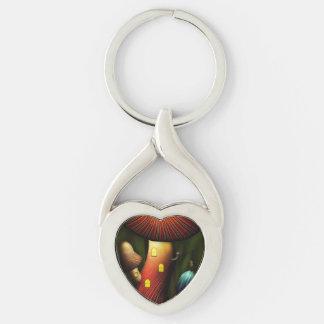 Seta - seta mágica llavero plateado en forma de corazón