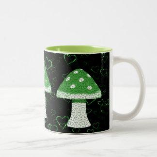 Seta verde taza de café de dos colores