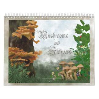 Seta y flores calendarios de pared