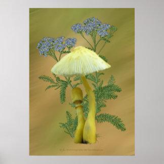 Setas amarillas con las flores azules minúsculas poster