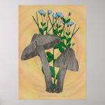 Setas grises con la impresión del poster del lino