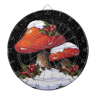Setas rojas del navidad nieve acebo arte tablero de dardos