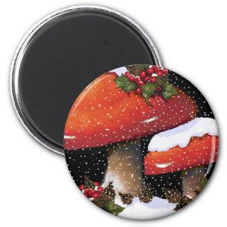 Setas rojas del navidad nieve acebo arte imanes para frigoríficos