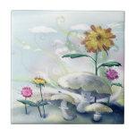 Setas y flores tejas  ceramicas
