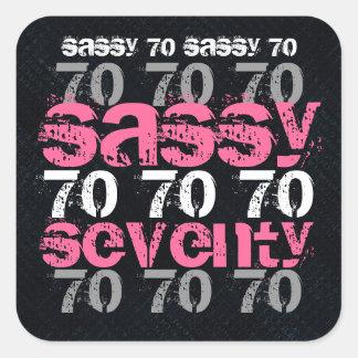 Setenta descarados fiesta rosado de plata negro de pegatina cuadrada