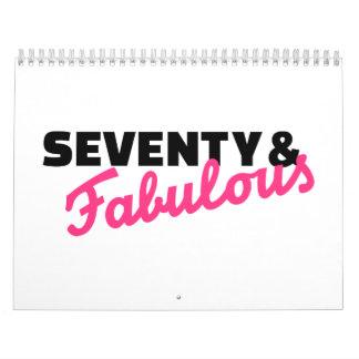 Setenta y cumpleaños fabuloso calendario de pared