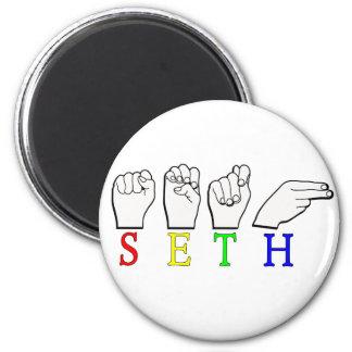 SETH FINGERSPELLED ASL NAME SIGN 2 INCH ROUND MAGNET