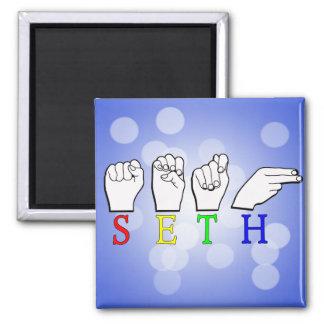 SETH FINGERSPELLED ASL NAME SIGN 2 INCH SQUARE MAGNET