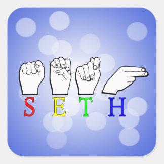 SETH FINGERSPELLED ASL NAME SIGN SQUARE STICKER