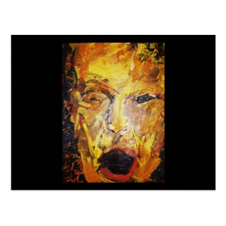 Seth, man's face, original acrylic painting postcard