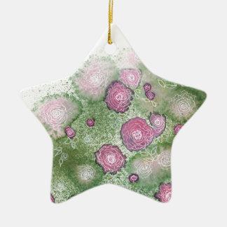 Seto pintado a mano del antigüedad-rosa adorno de cerámica en forma de estrella