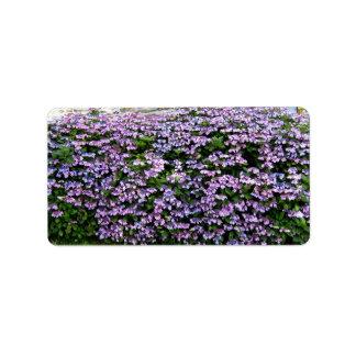 Setos de florecimiento púrpuras inconsútiles etiquetas de dirección