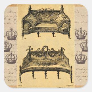 Settees elegantes franceses de los muebles del pegatina cuadradas personalizada