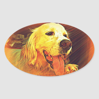 Setter Dog Oval Sticker