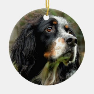 Setter Love Double-Sided Ceramic Round Christmas Ornament
