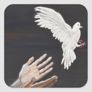 Setting Free-Inspirational painting Square Stickers