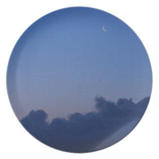Setting Moon at Sunrise Dinner Plate