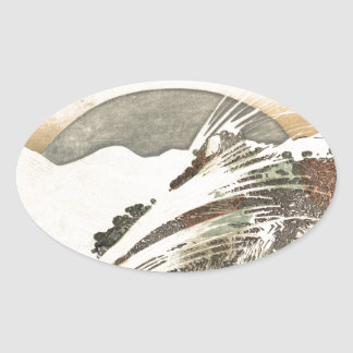 Setting Moon on Waves (19th Century) Oval Sticker