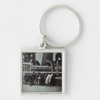 Setting Sail from New York City Vintage Silver-Colored Square Keychain