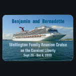"""Setting Sail Group Stateroom Door Marker lg Magnet<br><div class=""""desc"""">Her white hull gleaming in the afternoon sun as she sets sail from her homeport of Port Canaveral, Florida, the Liberty embarks on a getaway cruise. Next stop on her ocean voyage: Freeport, Grand Bahama. Create a custom magnet to put on your cabin door while on board, and to keep...</div>"""