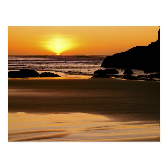 Setting Sun - Bandon, Oregon Postcard