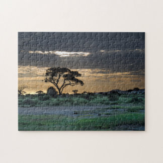 Setting Sun on the Savannah Jigsaw Puzzle