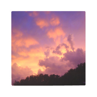 Setting Sun with Clouds and Heavenly Rays Metal Print