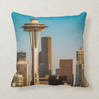 Setting Sunlight On The Space Needle And Seattle Pillow