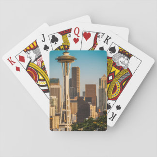 Setting Sunlight On The Space Needle And Seattle Playing Cards