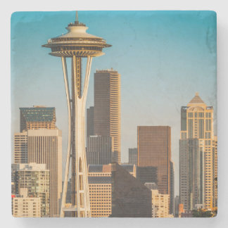 Setting Sunlight On The Space Needle And Seattle Stone Beverage Coaster