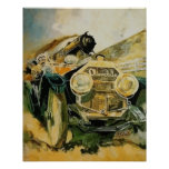 Setting the pace, automobile vs. steam locomotive poster