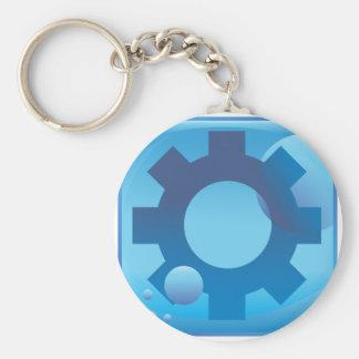 Settings Cog Wheel Underwater Blue Icon Button Basic Round Button Keychain