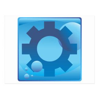 Settings Cog Wheel Underwater Blue Icon Button Postcard
