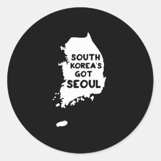 Seul conseguida de la Corea del Sur Pegatina Redonda